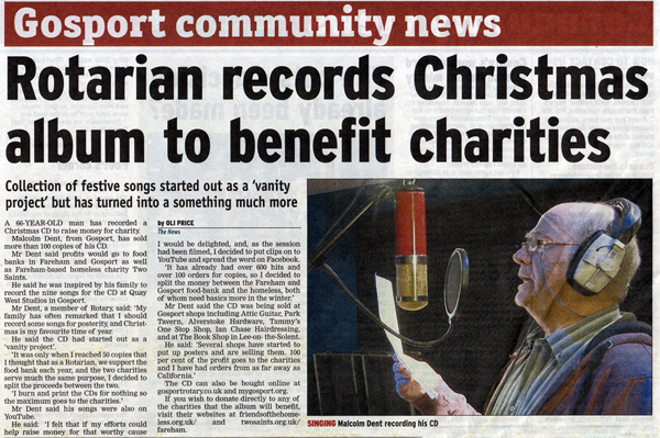 Malcolm's Christmas Cheer charity CD